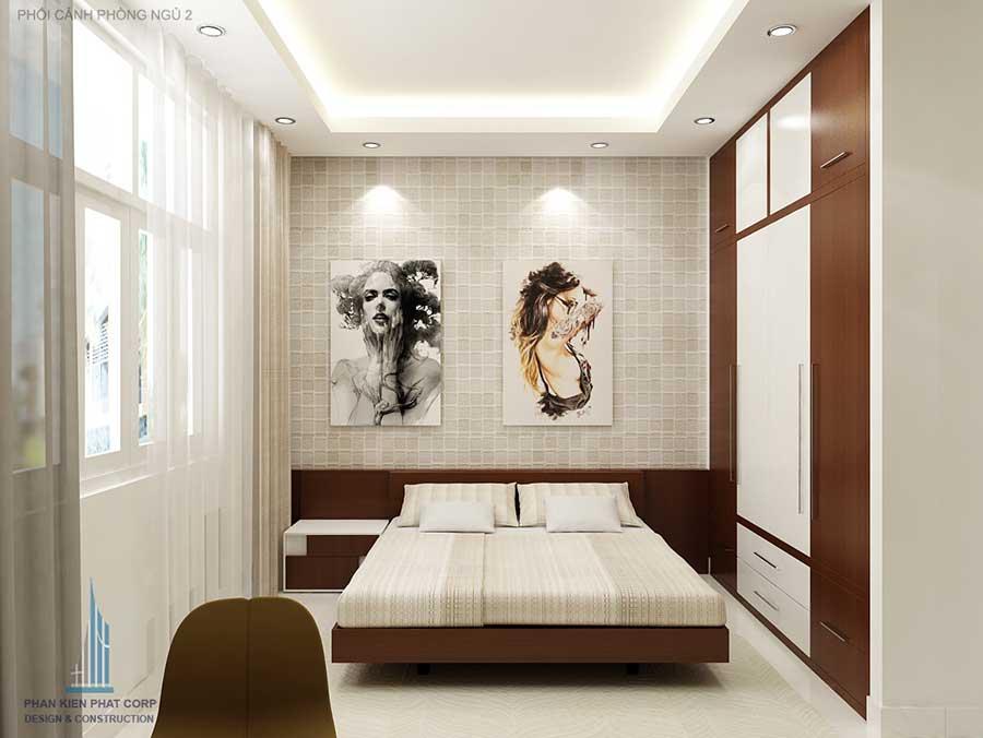 Phòng ngủ 2 góc 1 - nhà phố 3 tầng