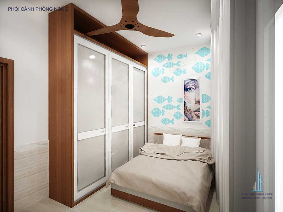 Phối cảnh phòng ngủ 2 góc 1