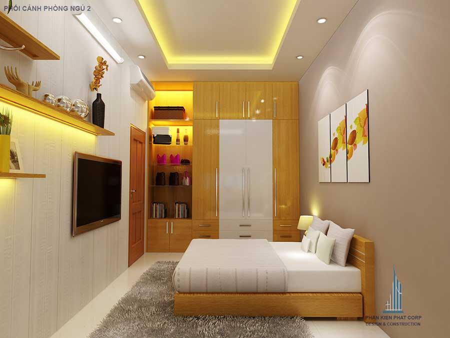 Phòng ngủ 2 góc 1 của nhà phố thiết kế sang trọng