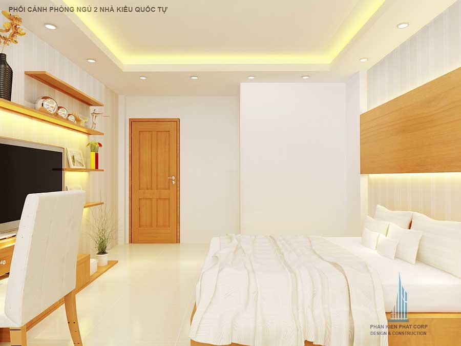 Phối cảnh phòng ngủ 2 góc 1 của nhà ống 2 tầng