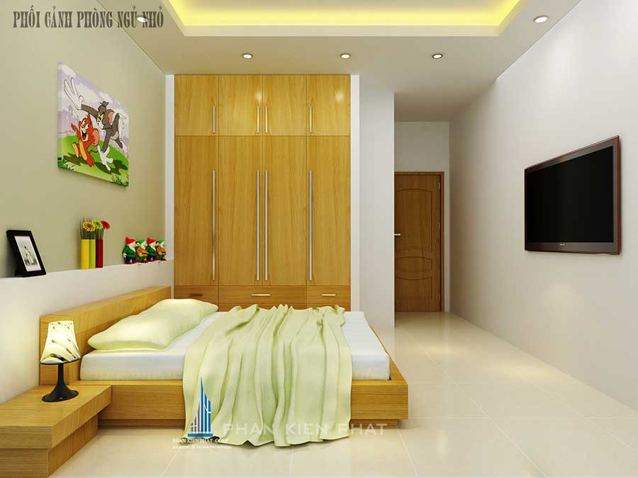 Phối cảnh phòng ngủ 2 góc 1 của nhà phố 5 tầng