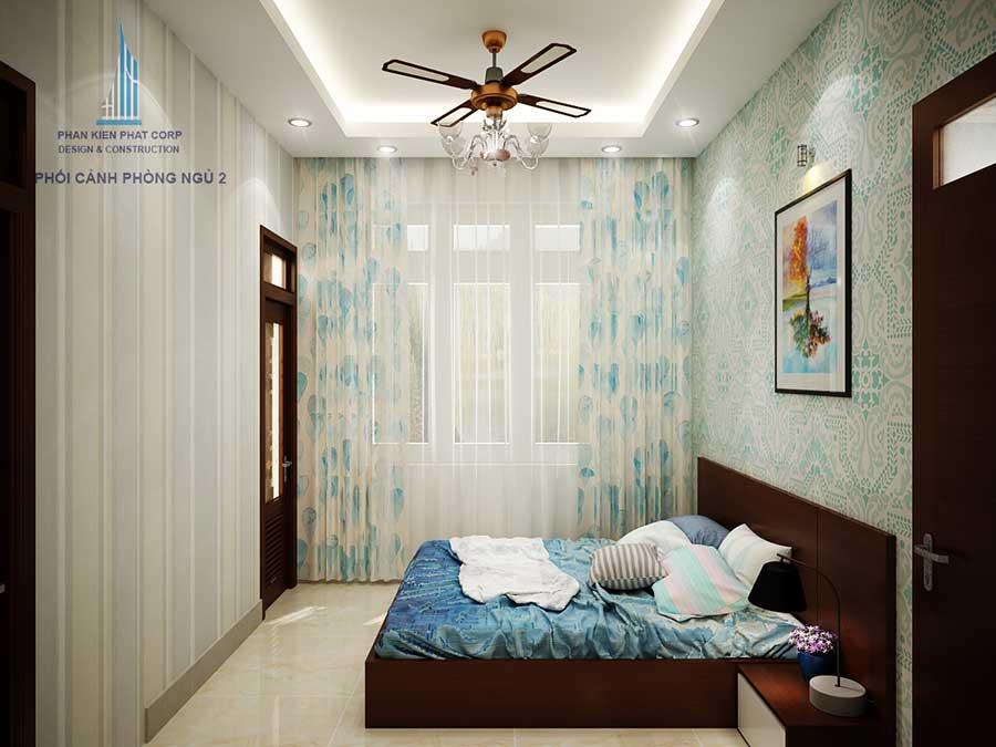Thiết kế biệt thự mái tháisân vườn - Phòng ngủ 2 góc 1