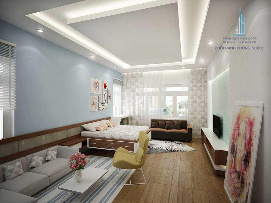 Thiết kế biệt thự hiện đại - Phòng ngủ 2 góc 1