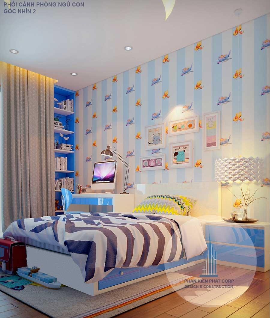 Thiết kế biệt thự - Phòng ngủ 2 góc 1