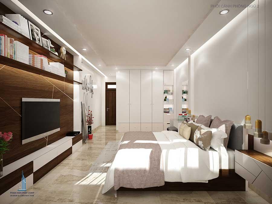 Phòng ngủ 2 góc 1 - nhà 3 tầng hiện đại