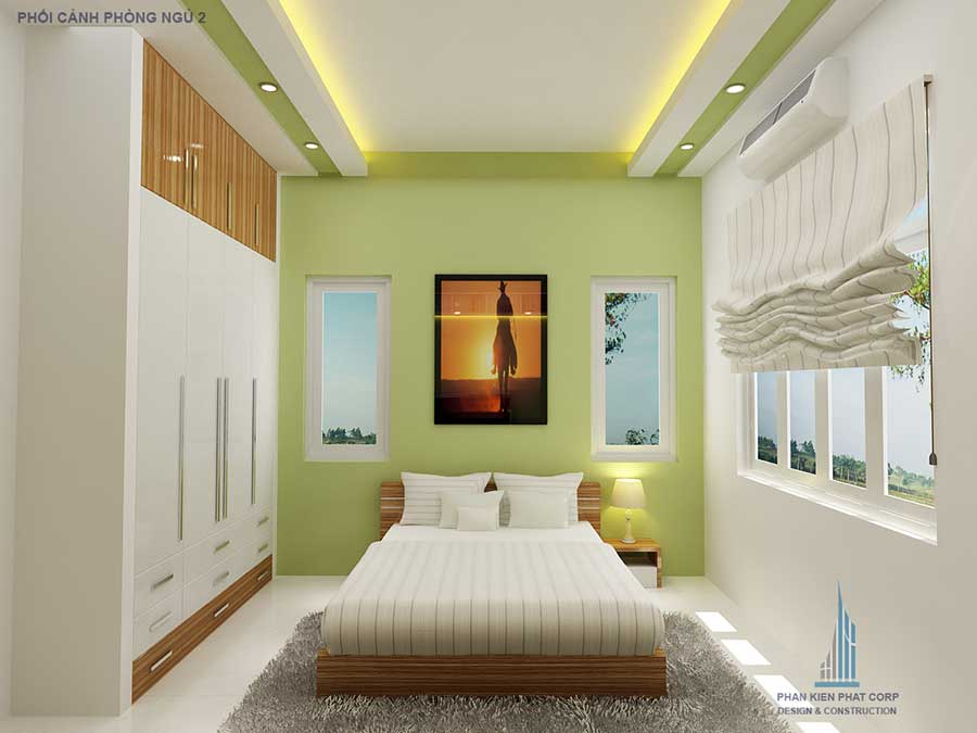 Phòng ngủ 2 - nhà phố hiện đại 2 tầng