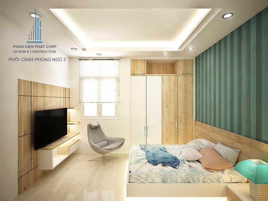 Thiết kế nhà 3 tầng 4x15m - Phòng ngủ 2 góc 1