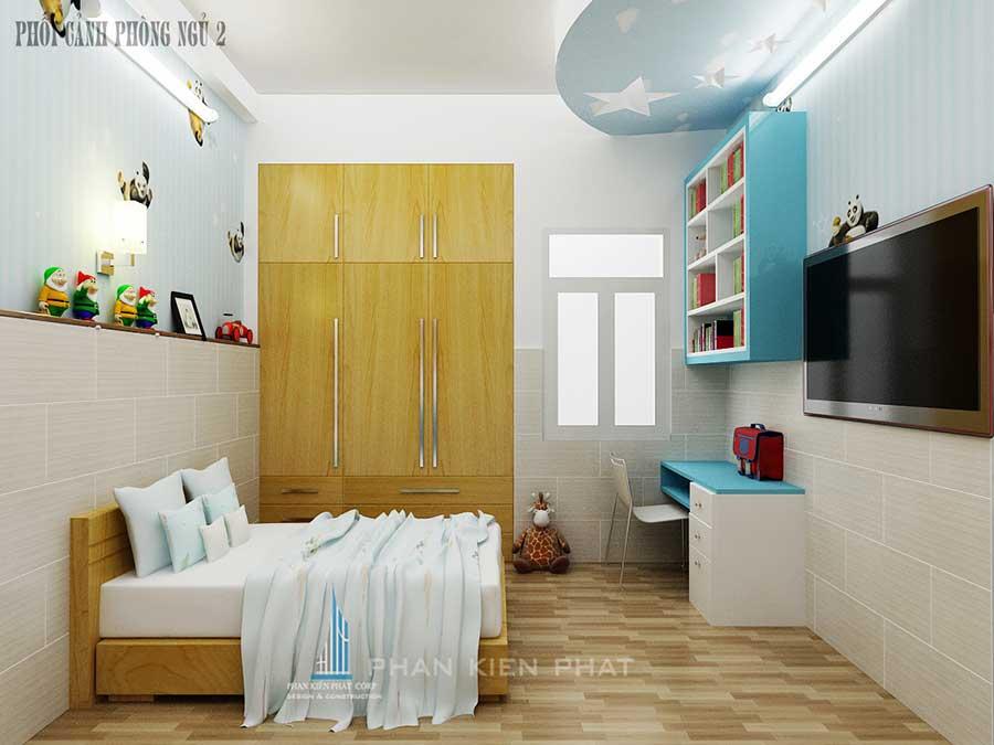 Xây nhà 4 tầng - Phòng ngủ 2 góc 1