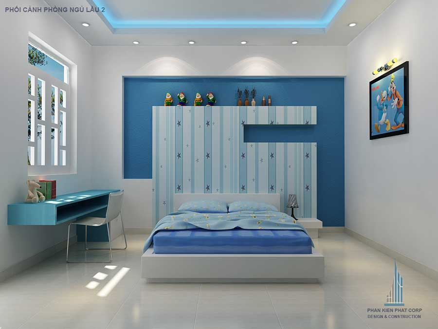 Phòng ngủ con trai - nhà phố hiện đại 4 tầng