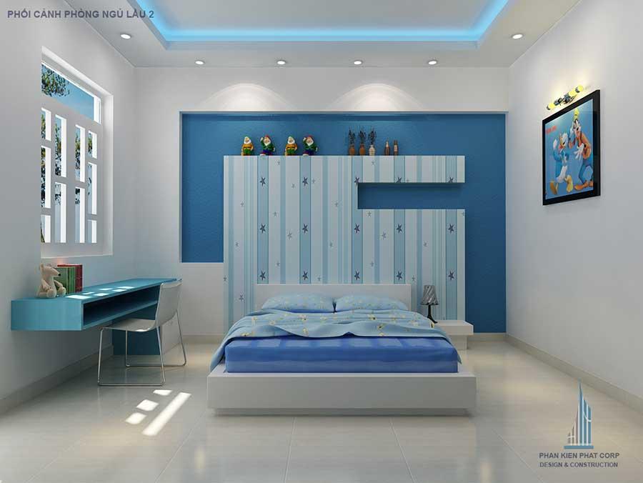 Thiết kế nhà 4 tầng - Phòng ngủ 2 góc 1
