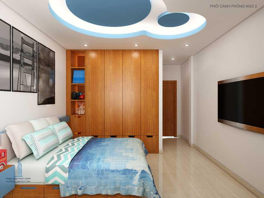 Phòng ngủ 2 góc 1 của mẫu nhà phố đẹp 4 tầng