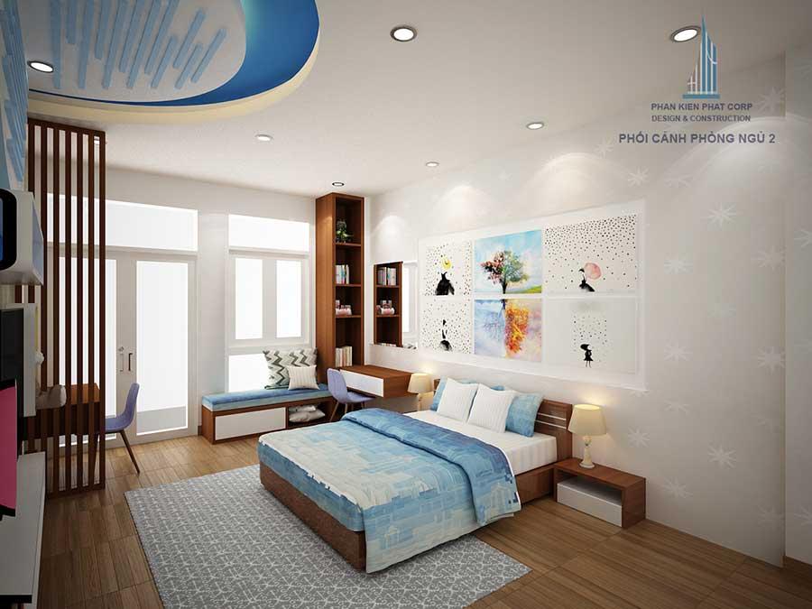 Phòng ngủ 2 góc 1 của mẫu nhà 4 tầng phố
