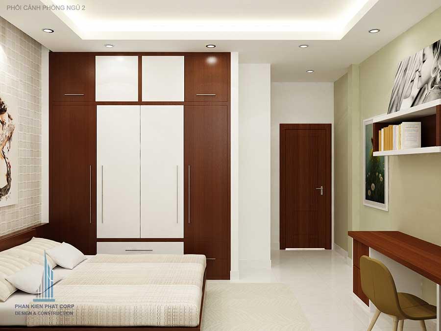 Phòng ngủ 2 góc 2 - nhà 3 tầng mái xéo