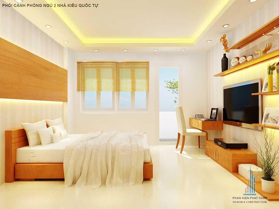 Phối cảnh phòng ngủ 2 góc 2 của nhà phố 2 tầng
