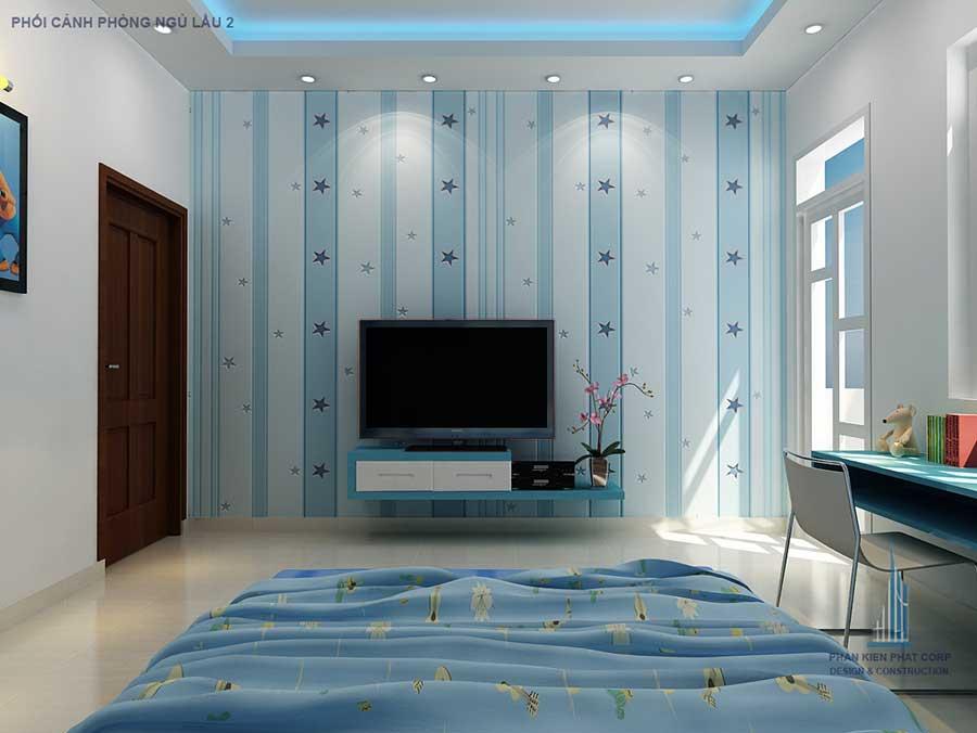 Phối cảnh phòng ngủ 2 góc 2 của nhà phố 4 tầng