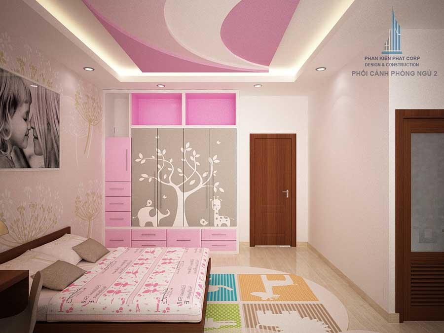 Phòng ngủ 2 góc 2 - nhà 4 tầng hiện đại