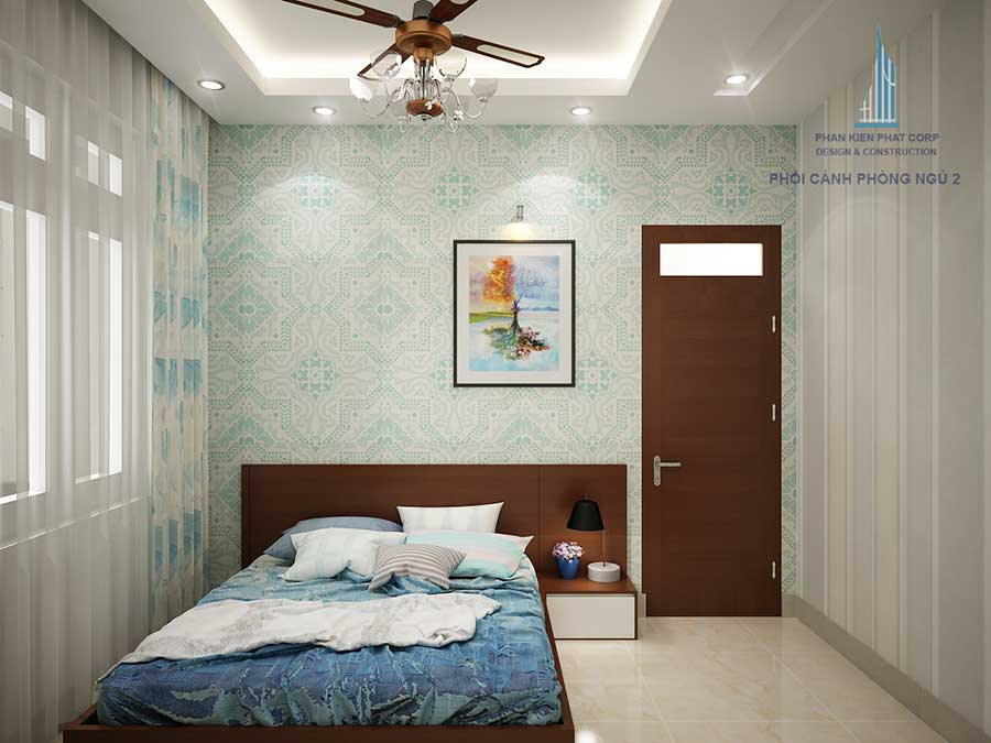 Phòng ngủ 2 - mẫu nhà sân vườn 2 tầng