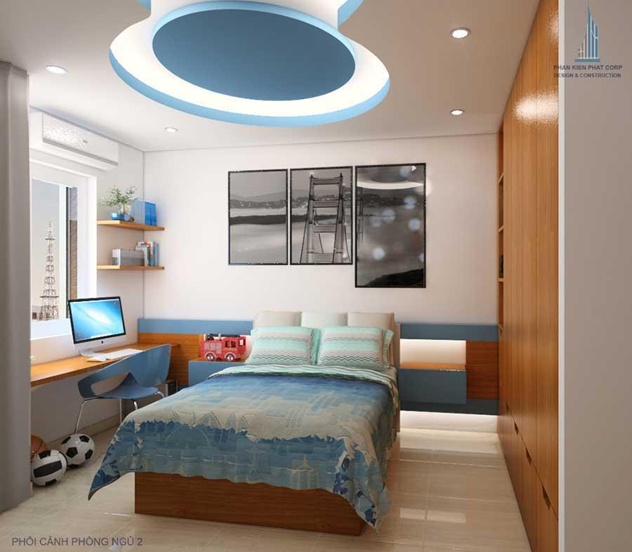Phòng ngủ 2 góc 2 của mẫu nhà phố 4 tầng