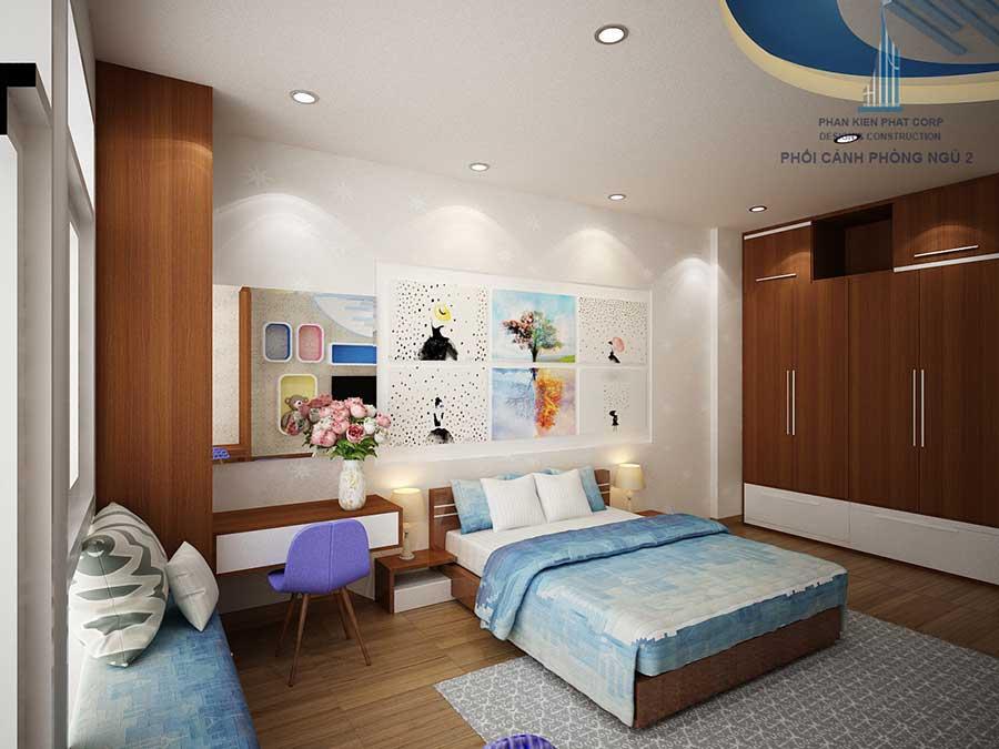 Phòng ngủ 2 góc 2 của mẫu nhà đẹp 4 tầng
