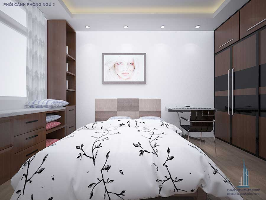 Phối cảnh phòng ngủ 2 góc 3