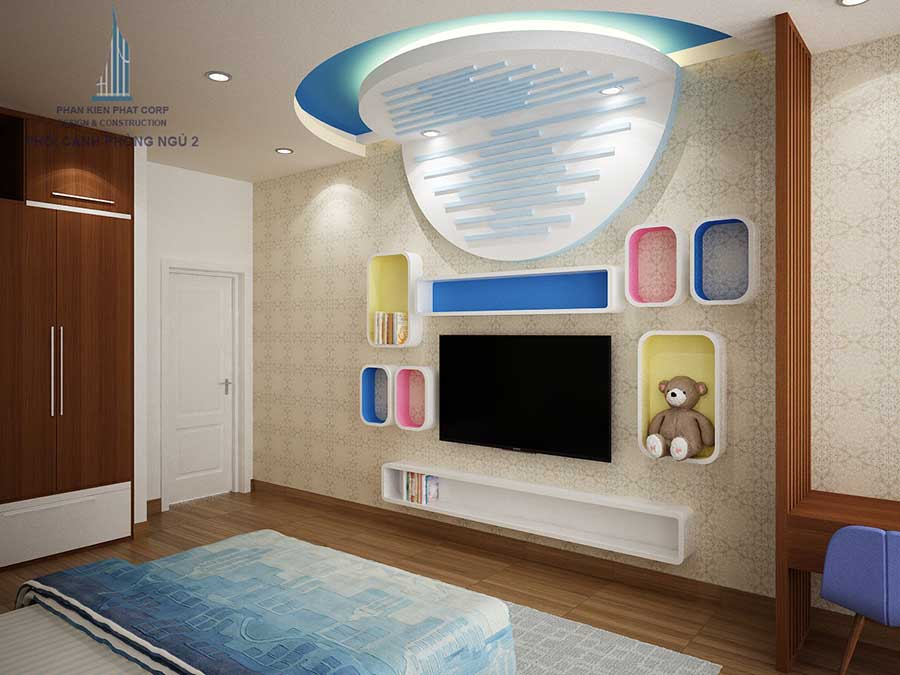 phòng ngủ 2 góc 3 của nhà đẹp hiện đại 4 tầng