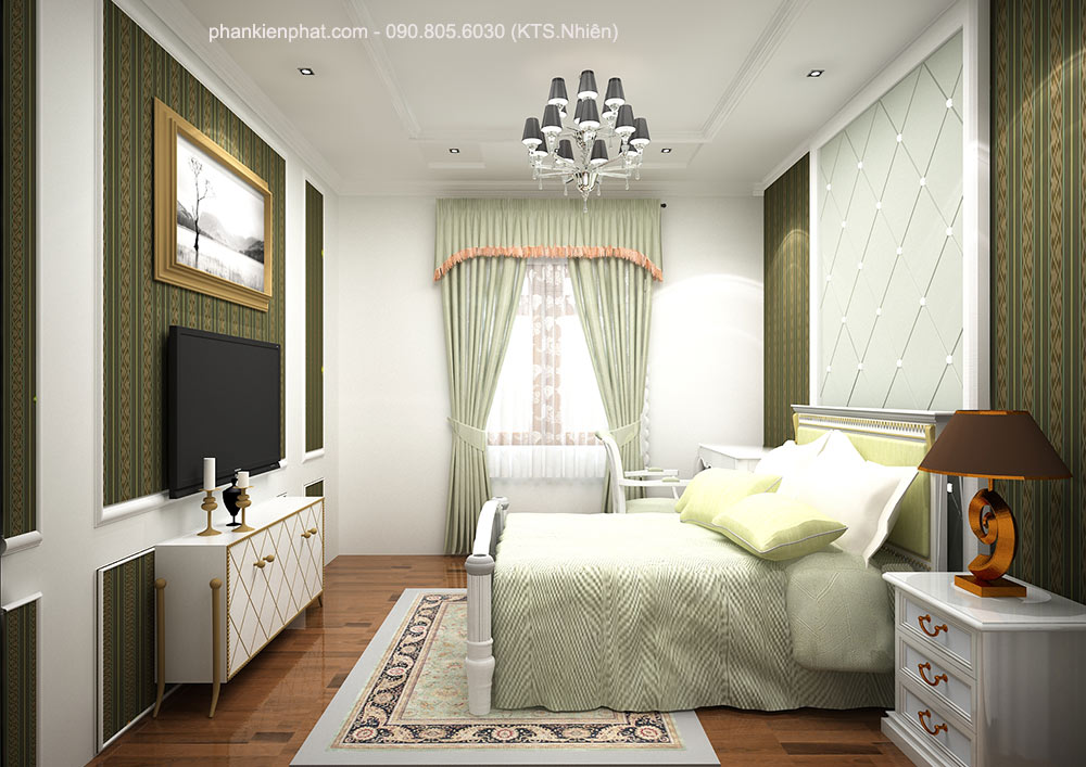Phòng ngủ 2 view 1 nhà đẹp 3 tầng 8x12m