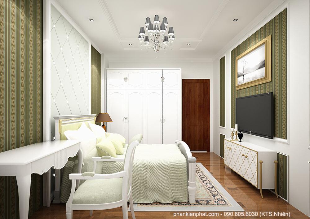 Phòng ngủ 2 view 2 biệt thự phố đẹp 8x12m 3 tầng