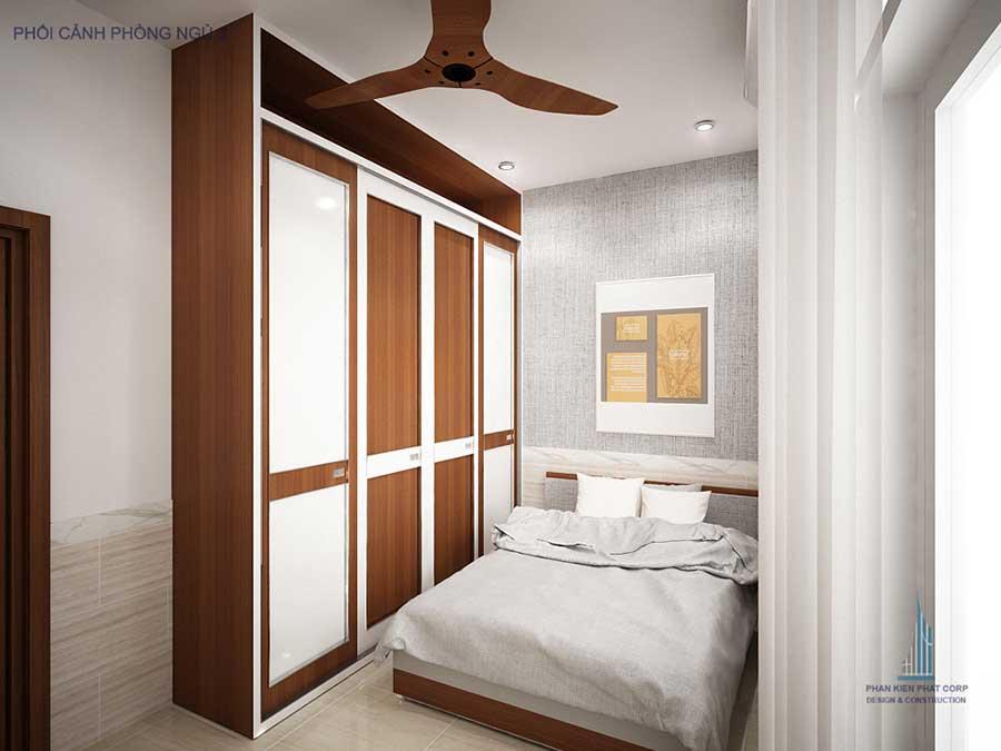 Phòng ngủ 3 góc 1 - nhà phố hiện đại 5 tầng