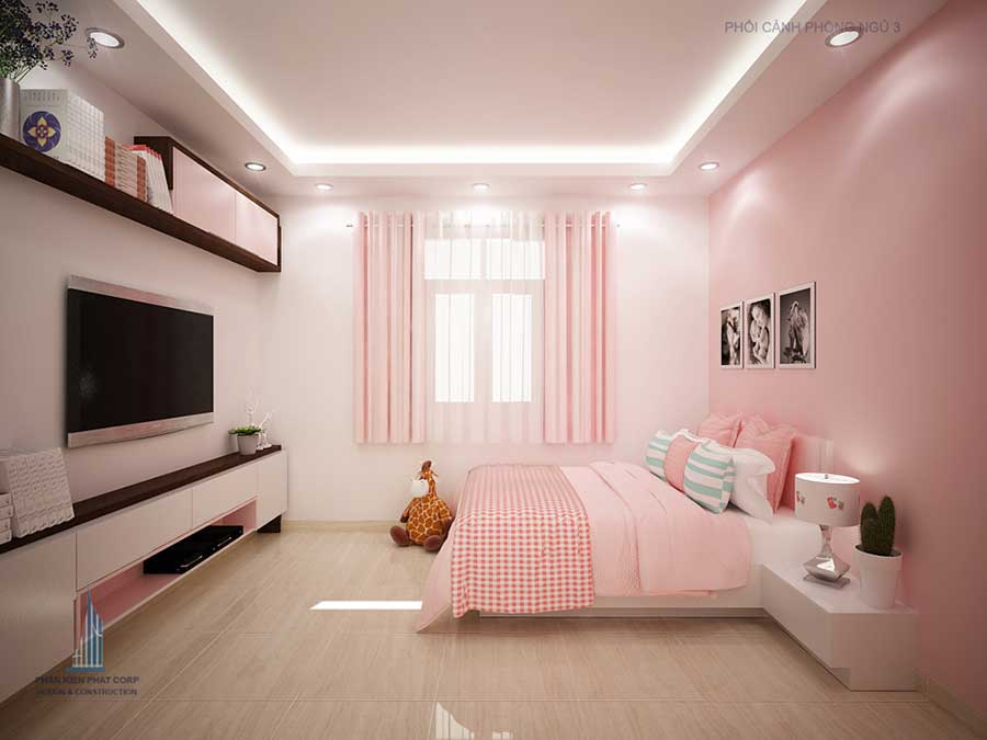 Phòng ngủ 3 góc 1 - nhà 3 tầng cổ điển