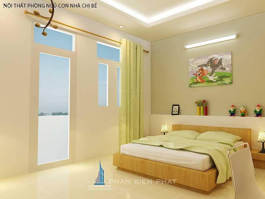 Thiết kế nhà phố - Phòng ngủ 3 góc 1