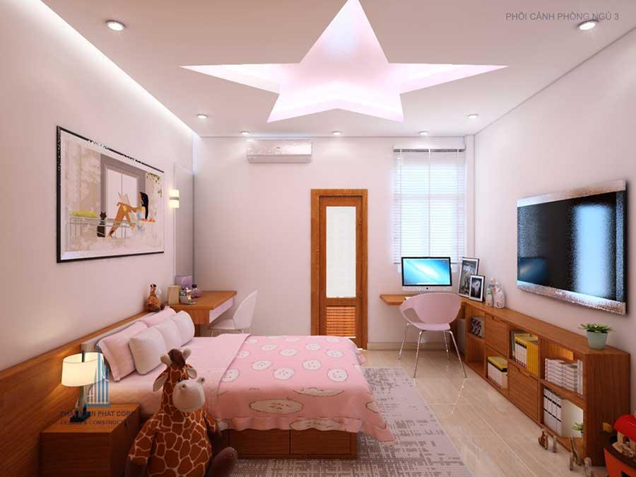 Phòng ngủ 3 góc 1 của mẫu nhà đẹp 4 tầng