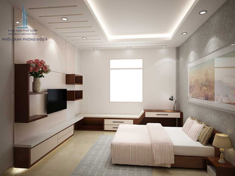 Phòng ngủ 3 góc 1 của mẫu nhà phố đẹp 4 tầng