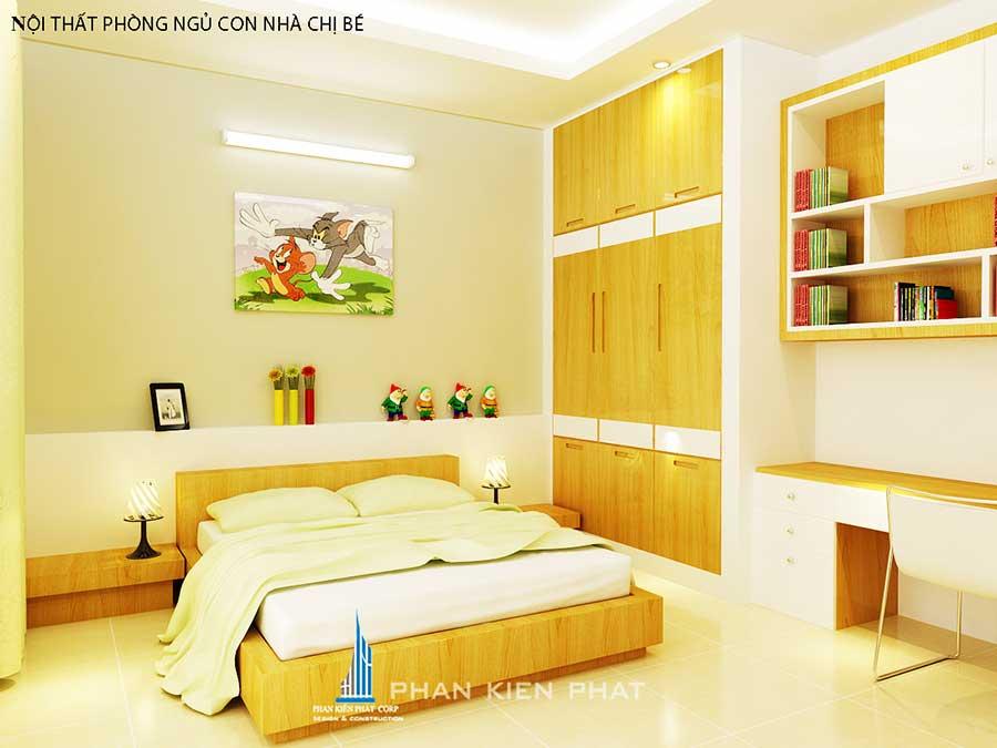 Phòng ngủ 3 góc 2 của nhà phố hiện đại