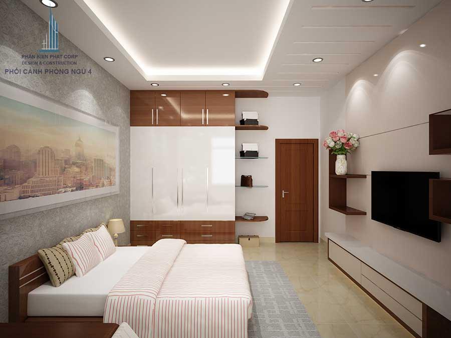 Phòng ngủ 3 góc 2 của mẫu nhà phố đẹp 4 tầng