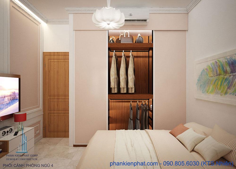 Phòng ngủ 4 của xây nhà 4 tầng 4x15m