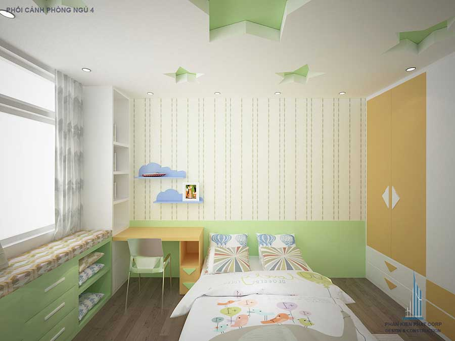 Phòng ngủ con - nhà 4 tầng 8x15m