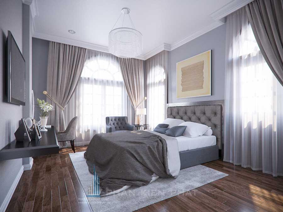 Phòng ngủ góc 1 - thiết kế xây nhà 3 tầng