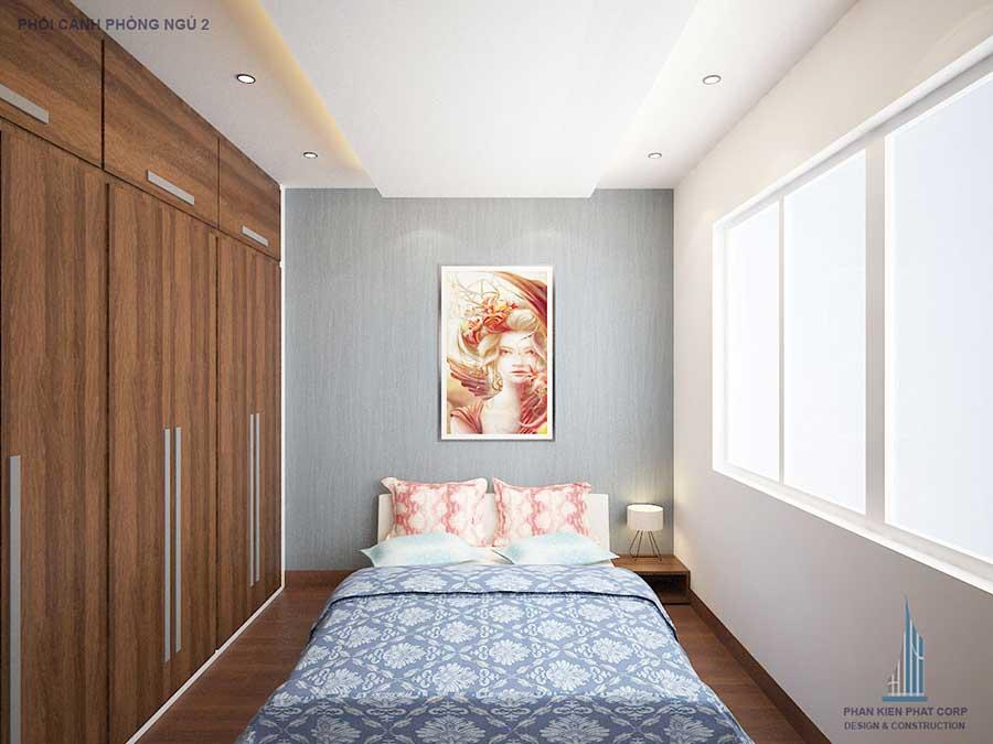 Phối cảnh phòng ngủ góc 2 trong nhà phố 3 tầng