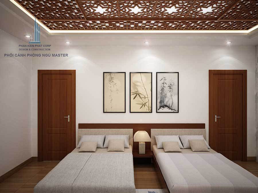 Phòng ngủ master - nhà 2 tầng sân vườn