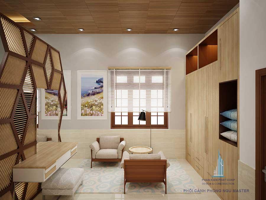 Phòng ngủ master thiết kế nhà cấp 4