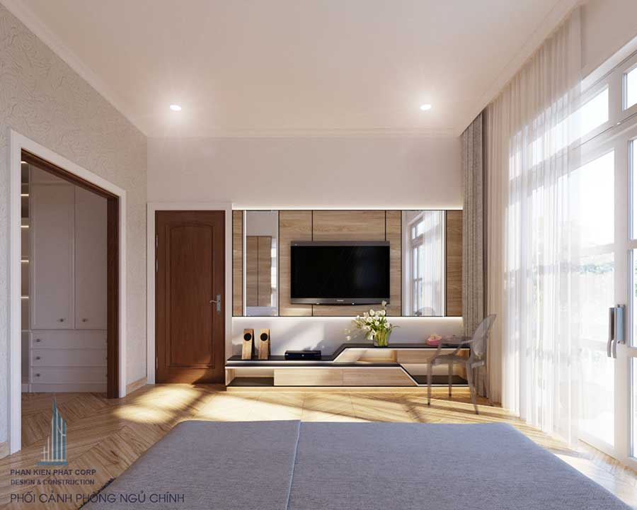 Phòng ngủ nhà 10x15m 2 tầng