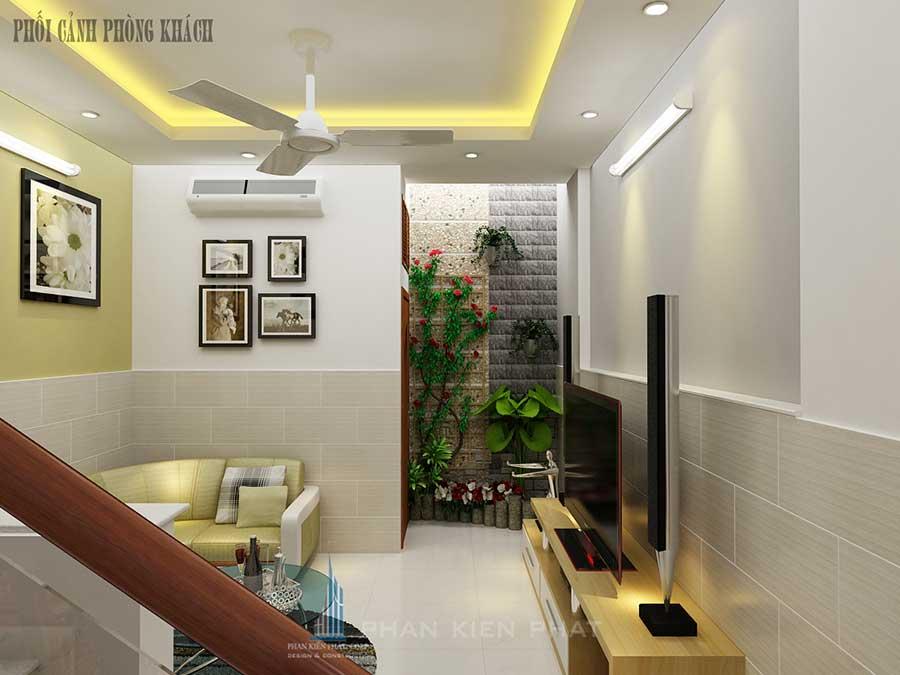 Phòng sinh hoạt chung - nhà 4 tầng 4x20m