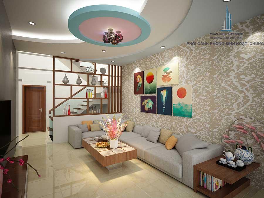 Phòng sinh hoạt chung của nhà 1 trệt 3 tầng hiện đại