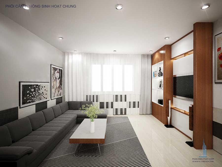 Phòng sinh hoạt chung góc 1 - nhà 5 tầng hiện đại