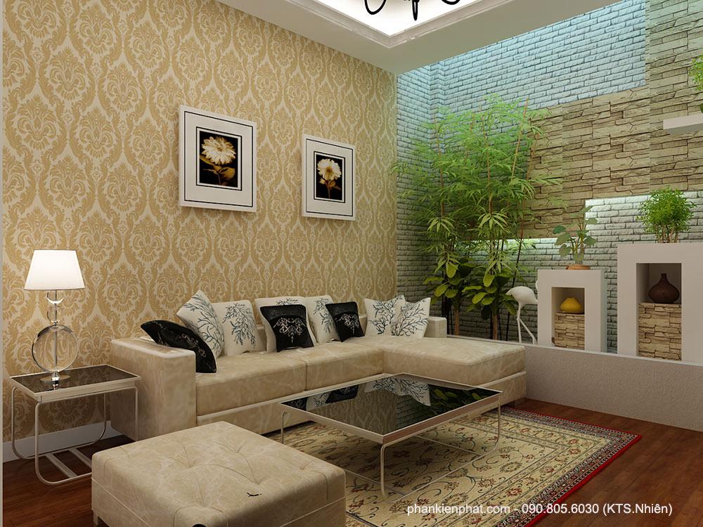 Phòng sinh hoạt chung view 2 biệt thự mini đẹp 8x12m