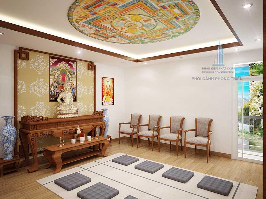 Phối cảnh phòng thờ biệt thự 2 tầng