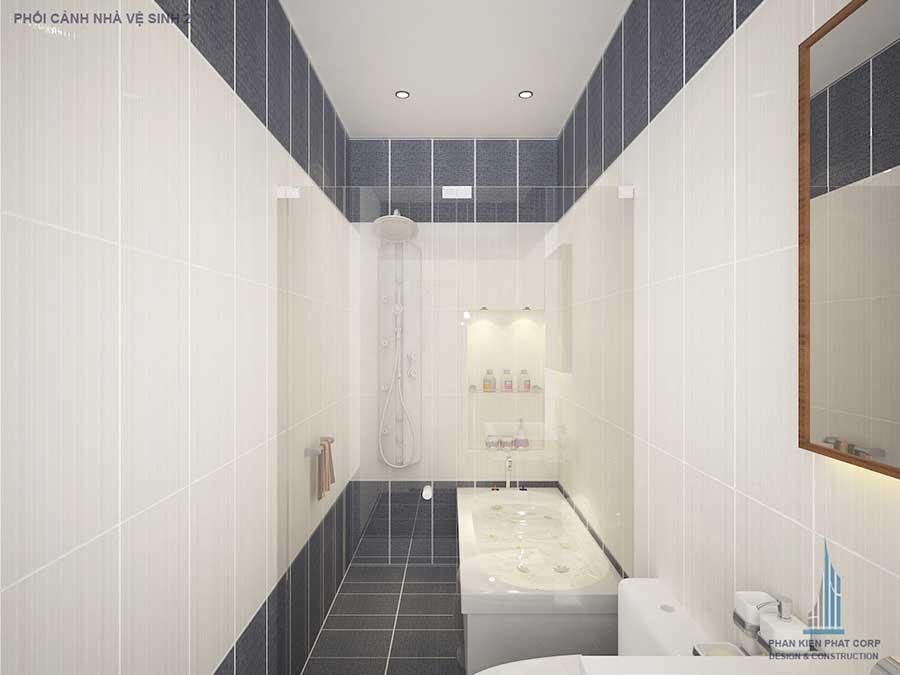 Phối cảnh phòng vệ sinh 2 góc 1- nhà phố 3 tầng đẹp