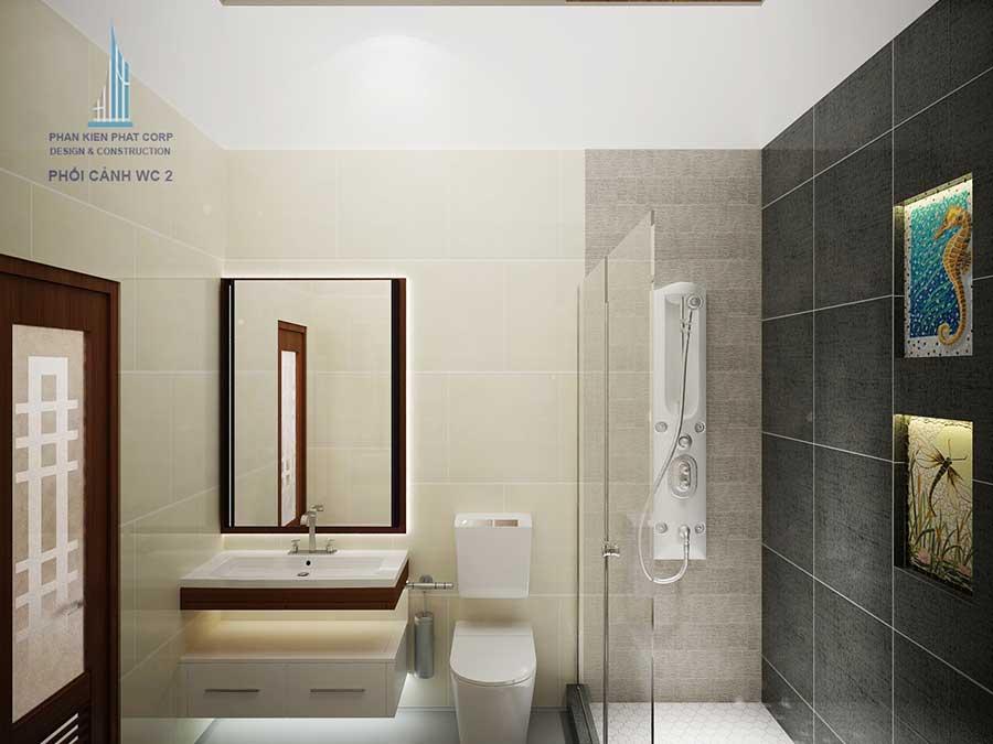 Thiết kế biệt thự - Phòng vệ sinh 2 góc 1