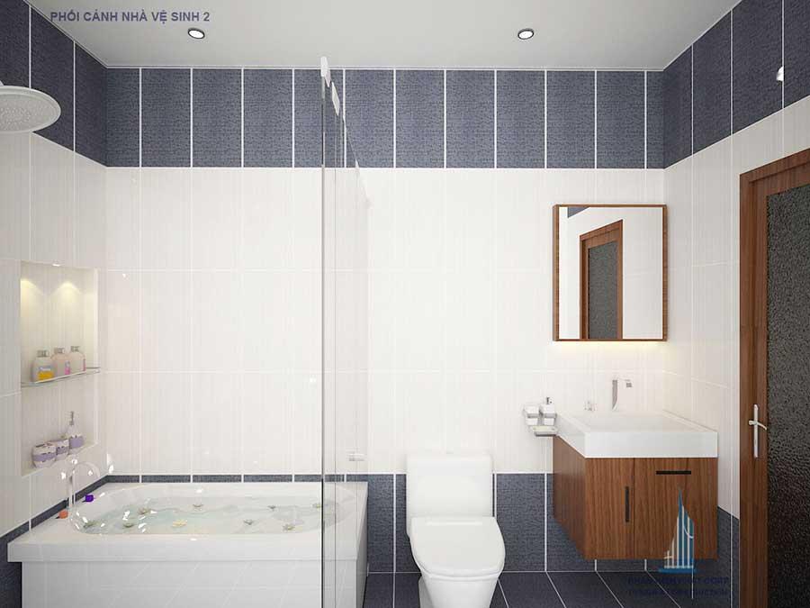 Phối cảnh phòng vệ sinh 2 góc 2 của nhà phố đẹp