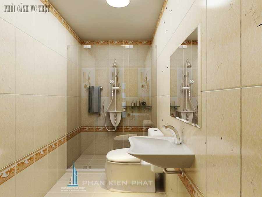 Nhà 4 tầng 4x20m - Phòng vệ sinh trệt